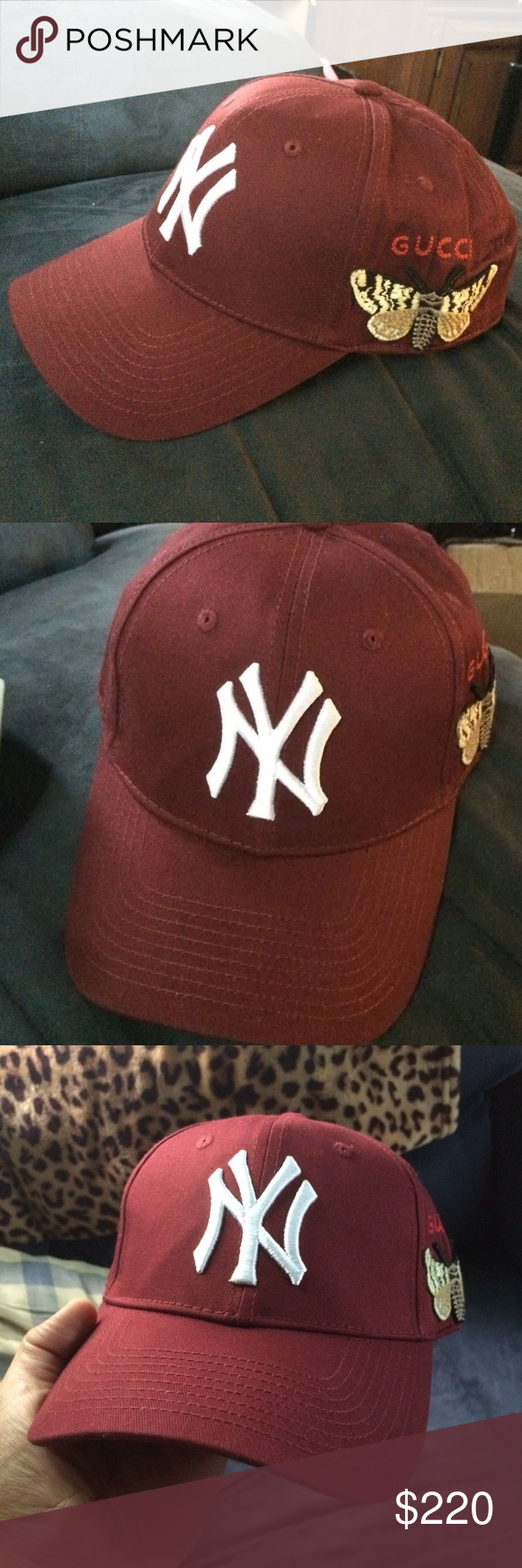 14e2b2f2 New Gucci NY Yankees Butterfly Hat/cap Unisex Brand new never been worn  Burgundy unisex Gucci NY Yankees baseball cap with the butterfly patch.