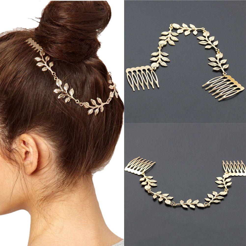 GBP Leaf Crystal Pearls Hair Clip Wedding Bridal Hair Pin
