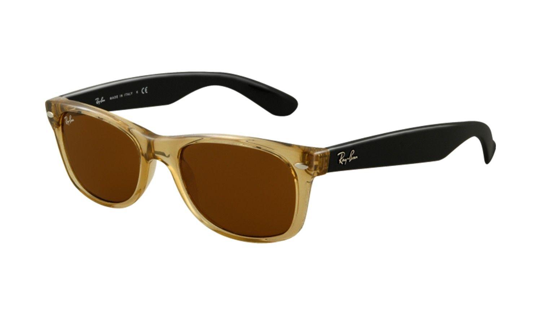 598cc962245 Ray Ban 2132 New Wayfarer Sunglasses Honey Crystal with Brown 55MM ...