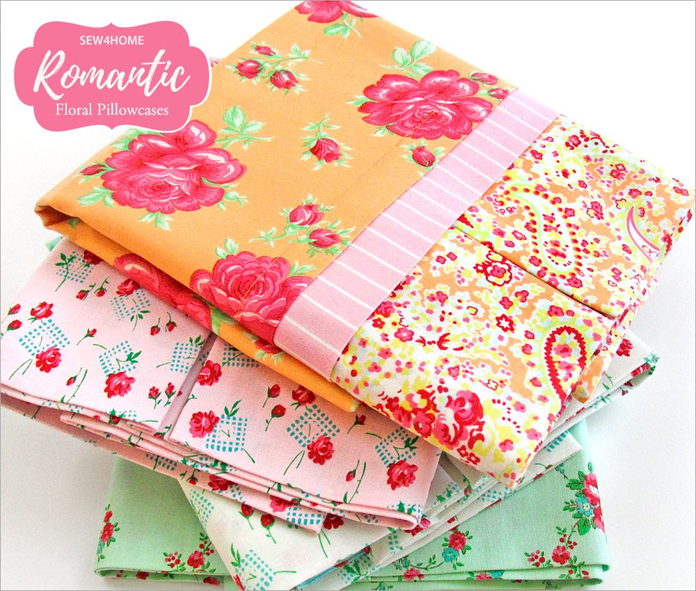 Romantic floral pillowcase with decorative cuff sew4home patterns jeuxipadfo Choice Image