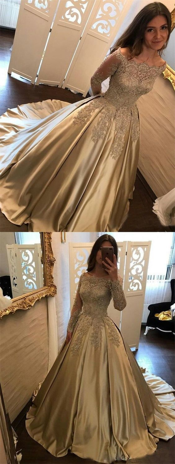 Ball Gown Off-the-Shoulder Champagne Satin Prom Dress with Lace Sleeves c646 by cutedressy, $181.71 USD