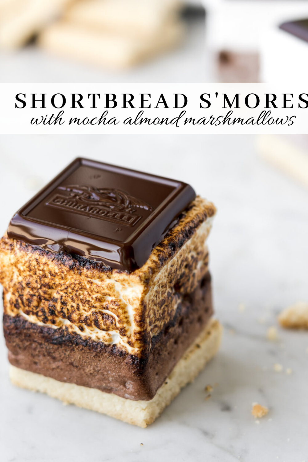 homemade mocha almond marshmallow and shortbread s'mores - With Spice