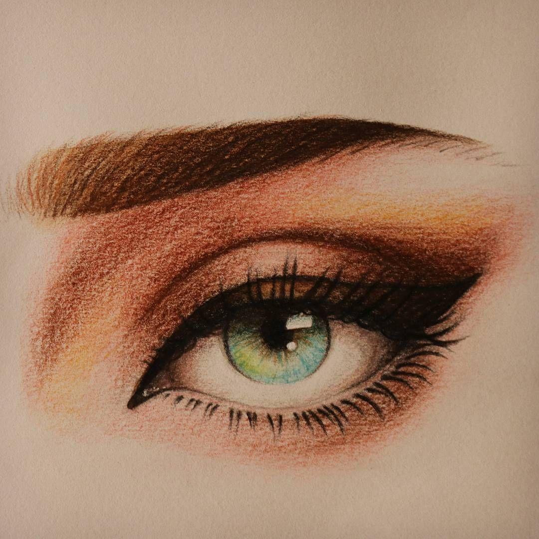 تعليم الرسم كيف ترسم العين والحواجب بالوان الخشب المائية للمبتدئين رسم عين بورتريه Pencil Art Drawings Art Sketches Anime Art Girl