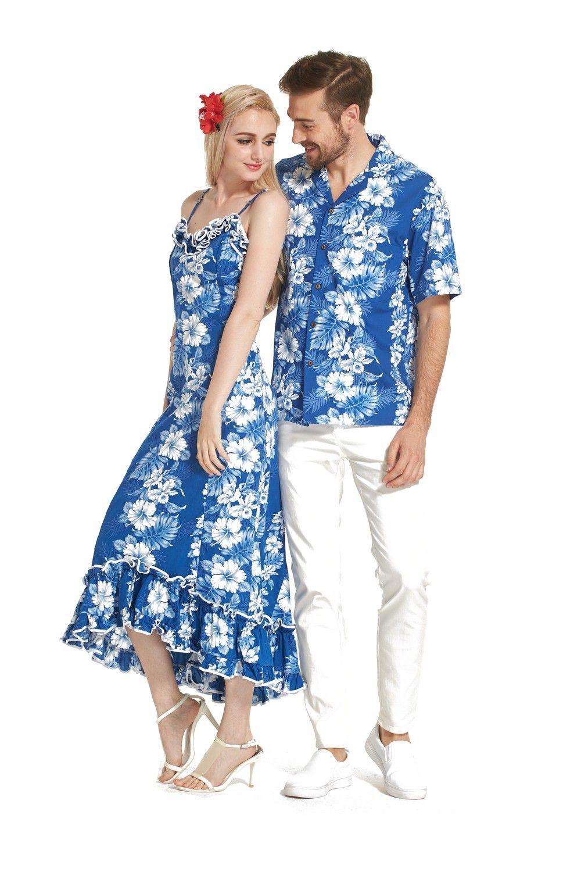 5da4ef005d1e Made in Hawaii Couple Matching Shirt and Muumuu Dress in White Floral in  Blue
