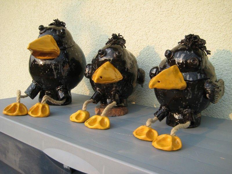 ceramic keramik bird vogel schwarz black yellow gelb zaungucker zaunhocker garten f e eigene. Black Bedroom Furniture Sets. Home Design Ideas