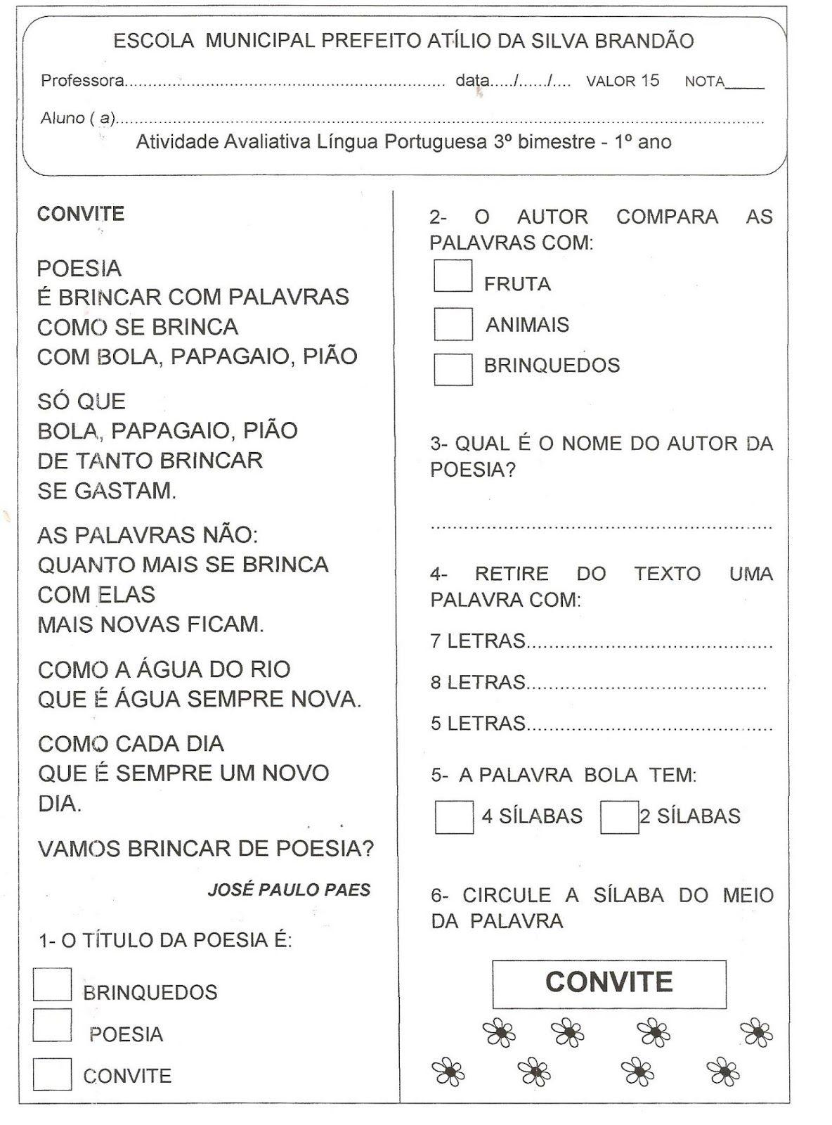 Favoritos ALFABETIZAÇÃO SOLIDÁRIA: Avaliação Lingua Portuguesa 3º bimestre  OS06
