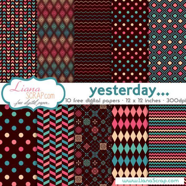 Free Geometric Digital Paper Yesterday Set Diy Pinterest