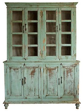 Superbe Distressed Wood Cabinet   Traditional   Bookcases Cabinets And Computer  Armoires   Terrain