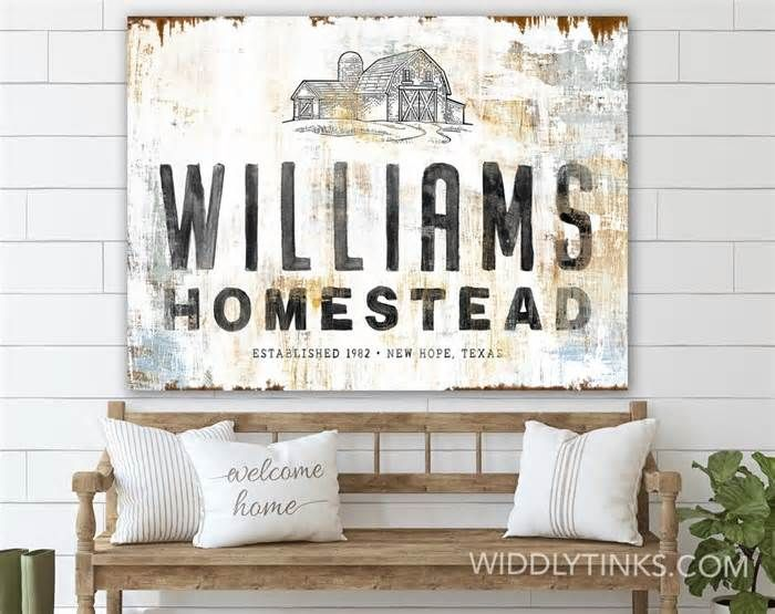 Widdlytinks Announces the Availability of Their New Rustic Homestead Barn Sign with Family Name Wall Art . Get the latest news for #farmhousedecor inside pinterest on this board. Dont forget to Follow us. #farmhousedecorlivingroom #farmhousediy #farmhousedecoronabudget #viraldevi