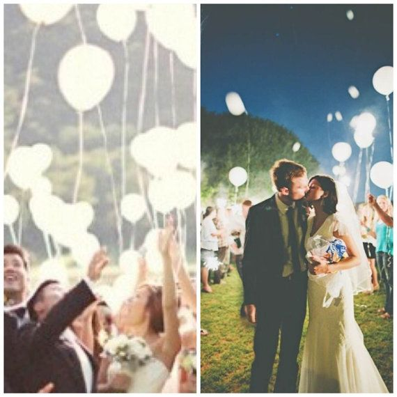 White LED Balloons That Glow. Wedding Send Off Light By