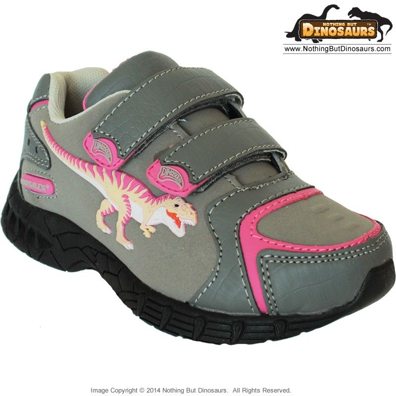 Dinosoles Gray DinoFit Low Top Shoes With Pink T-Rex ...