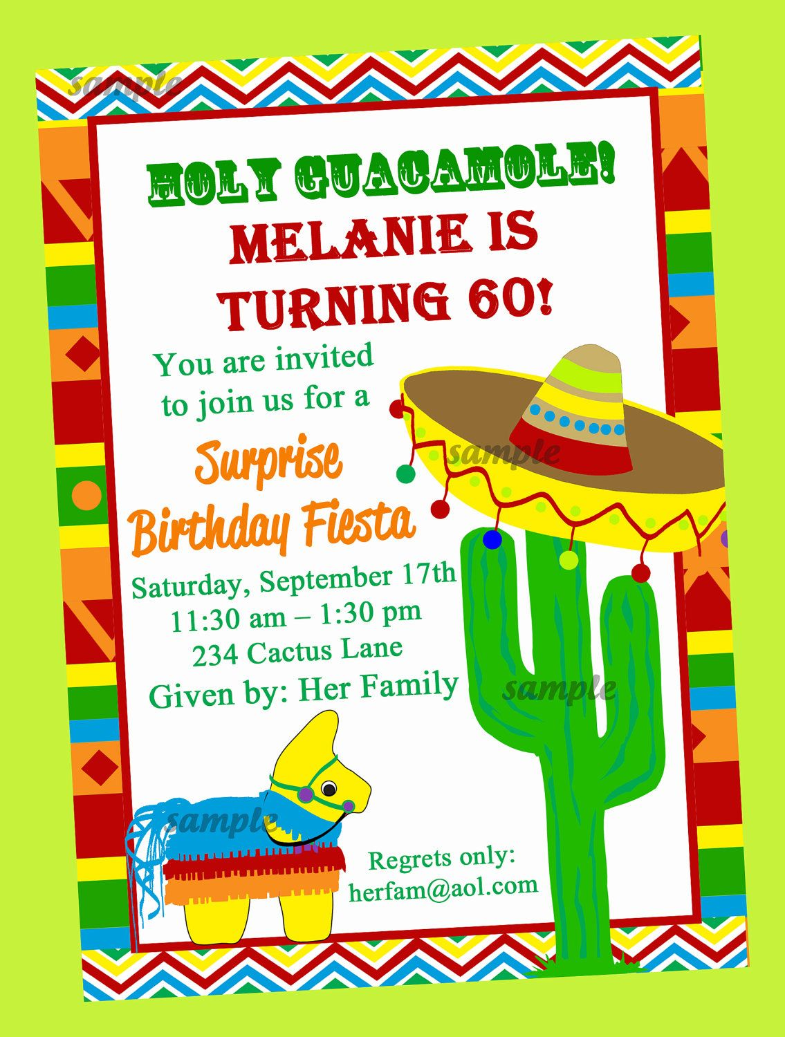 fiesta party invitation printable or printed with free shipping, invitation samples