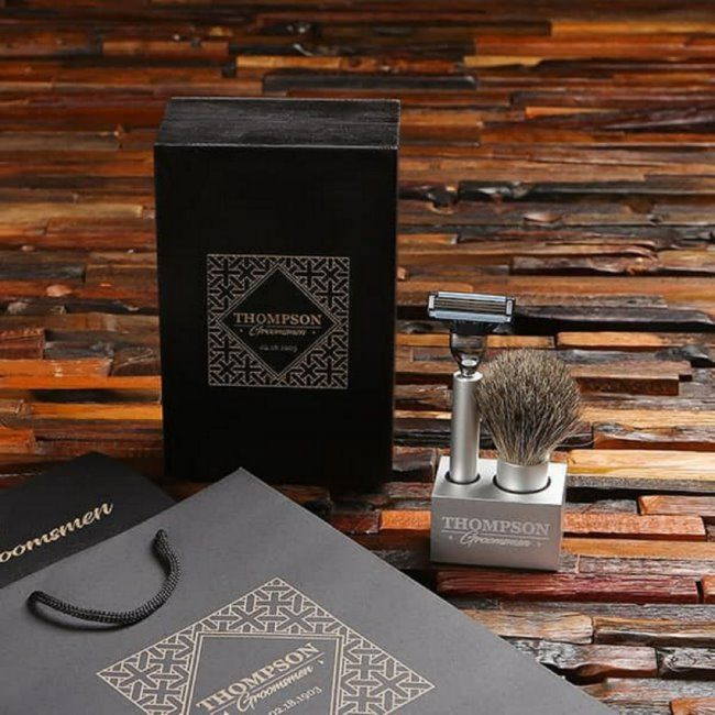 Cool Engraved Stand with Shaving Brush and Razor