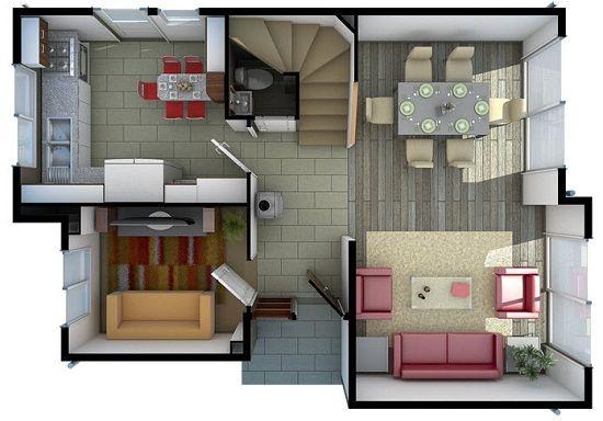 Plano primer piso casa planos pinterest for Planos de casas sims