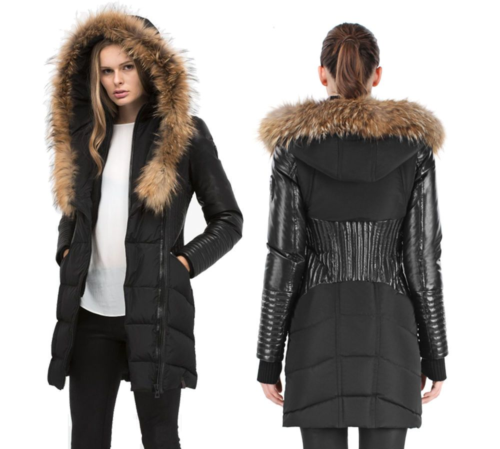 Rudsak Womens Shauna Parka Jacket Black w Natural Fur Hood Leather ...