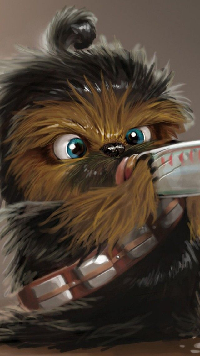 Star Wars, Baby Chewbacca, Artwork iPhone 5 wallpapers and