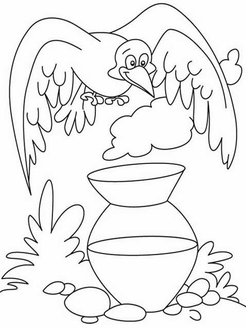 Download free printable Thirsty Crow Story Coloring Pages