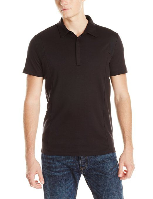 Calvin Klein Sportswear Men's Solid Mesh Block Interlock Polo, Black, Small
