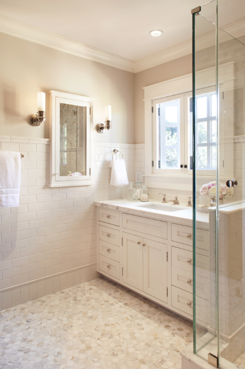 Merveilleux White Subway Tile, Marble Hexagon Flooring, White Molding And Cabinet, Etc.  Etc. Etc.