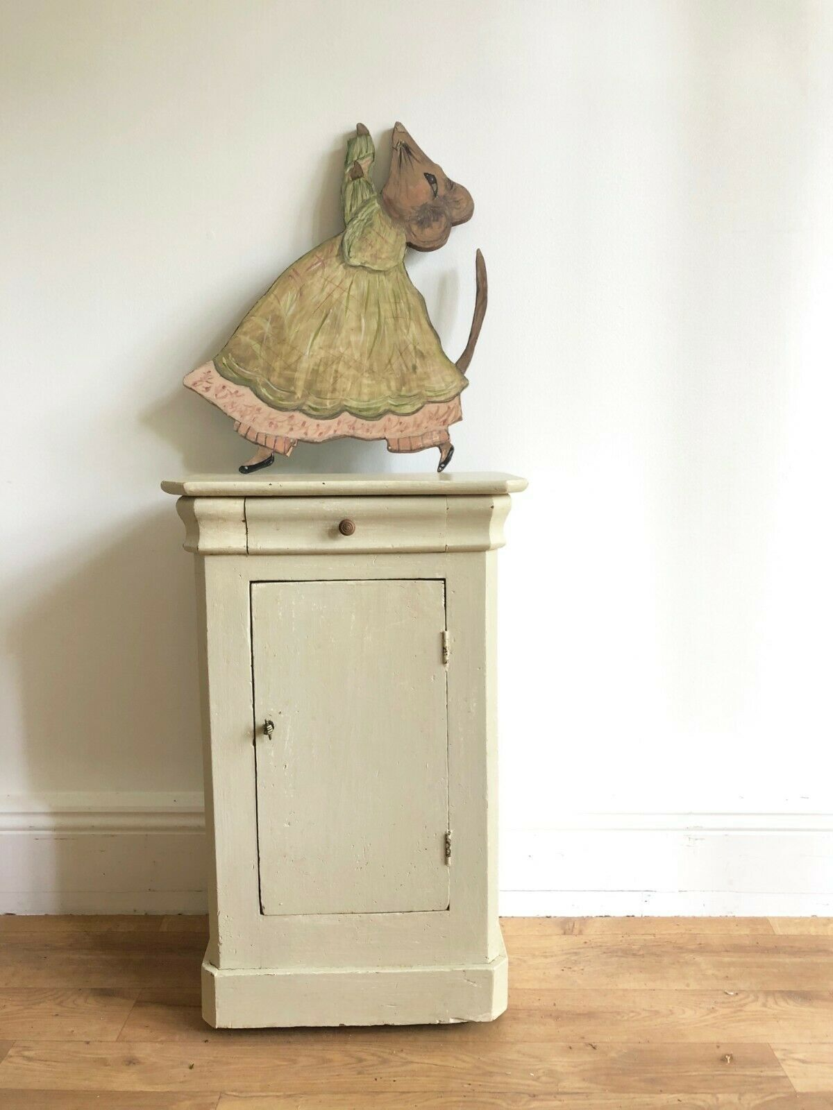 Cream Bedside Tables: Antique French Old Painted Cream Pot Cupboard Bedside