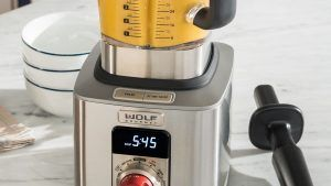 BLENDER - Whatever your taste, the Wolf Gourmet blender will craft what you crave. It offers complete control for complex recipes and pre-programmed settings for one touch smoothies and soups. Infinite speed control and quiet design are just the beginning. Available at Artisan Kitchens and Baths.