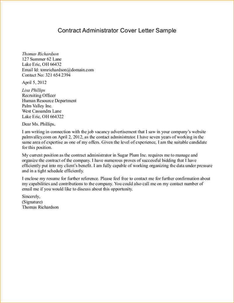 Letter Sample For Contract Administrator Cover Agreement Example Format