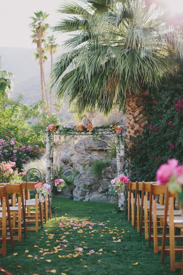 palm tree wedding ceremony - photo by rad + in love   27 Tropical Palm Tree Wedding Ideas   http://emmalinebride.com/themes/palm-tree-wedding-ideas/