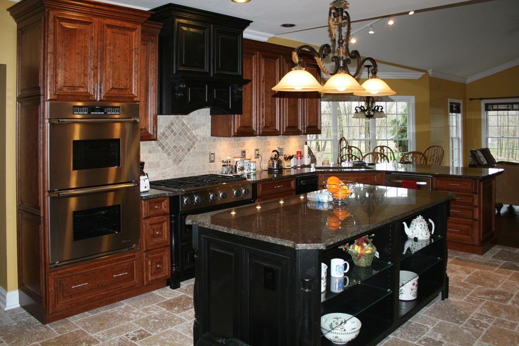Kitchens8L Distressed Cherry Kitchen Travertine