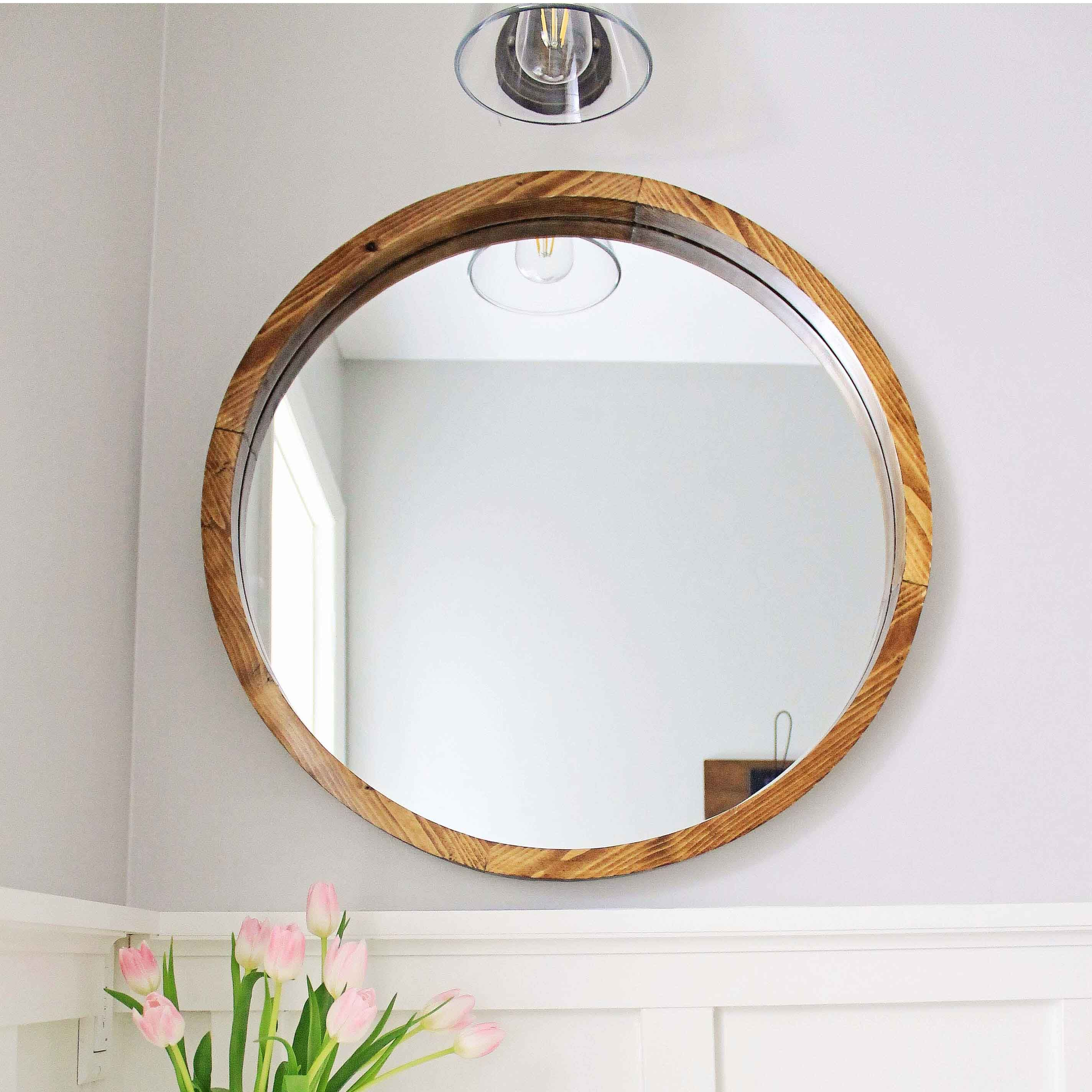 Round Wood Mirror Diy Round Wood Mirror Diy Mirror Wood Framed