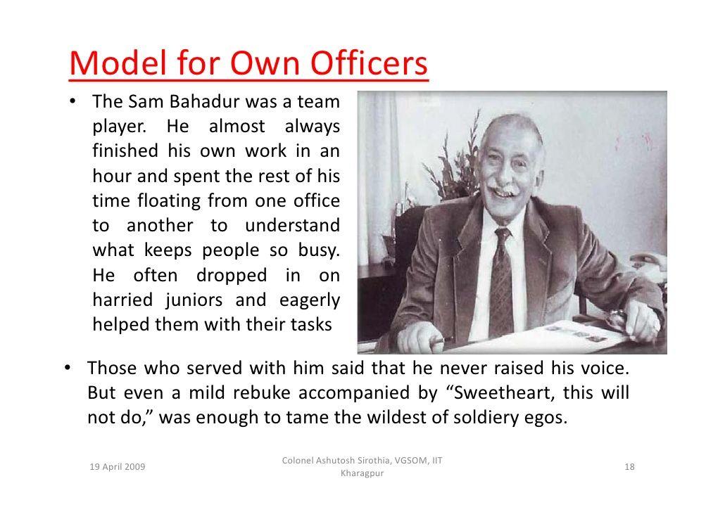 Field Marshal Shfj Manekshaw Mc A Pdf Presentation 18 728 Jpg 1030 728 Team Player Almost Always Finish Him