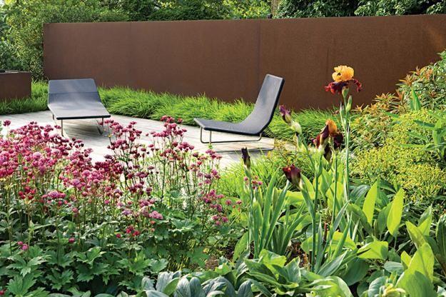 Wanden In Cortenstaal Binnentuin Landschapsarchitectuur Ontwerp Hedendaagse Tuinen
