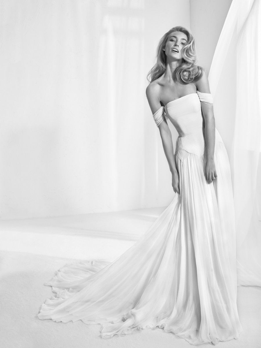 Rabat Strapless Flared Wedding Dress With Detachable Cap Sleeves Silk Fabric And Inner Corset