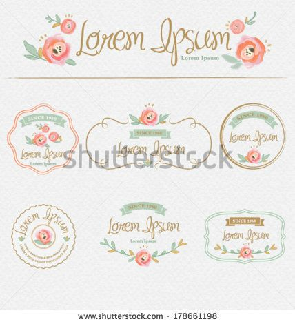 Flowers Design Elementsames Labels Ribbons Symbols Brand