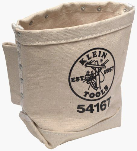 Bull-Pin & Bolt Bags - 55377 bolt bag by Klein Tools. $19.69. From the Manufacturer                Bolt bag with bull-pin loop on each side.  Made of #4 canvas with double bottom with tunnel loop.  5in. x 9in. x 10in. deep.                                    Product Description                409-5416T Features: -Bull-pin loop on each side.-3'' belt loops or tunnel loop.-Tunnel loop for belt attachment.-No. of Compartments: 3.-Carrying Method: Belt.-Shape: Rectangular.-Type: Tool...
