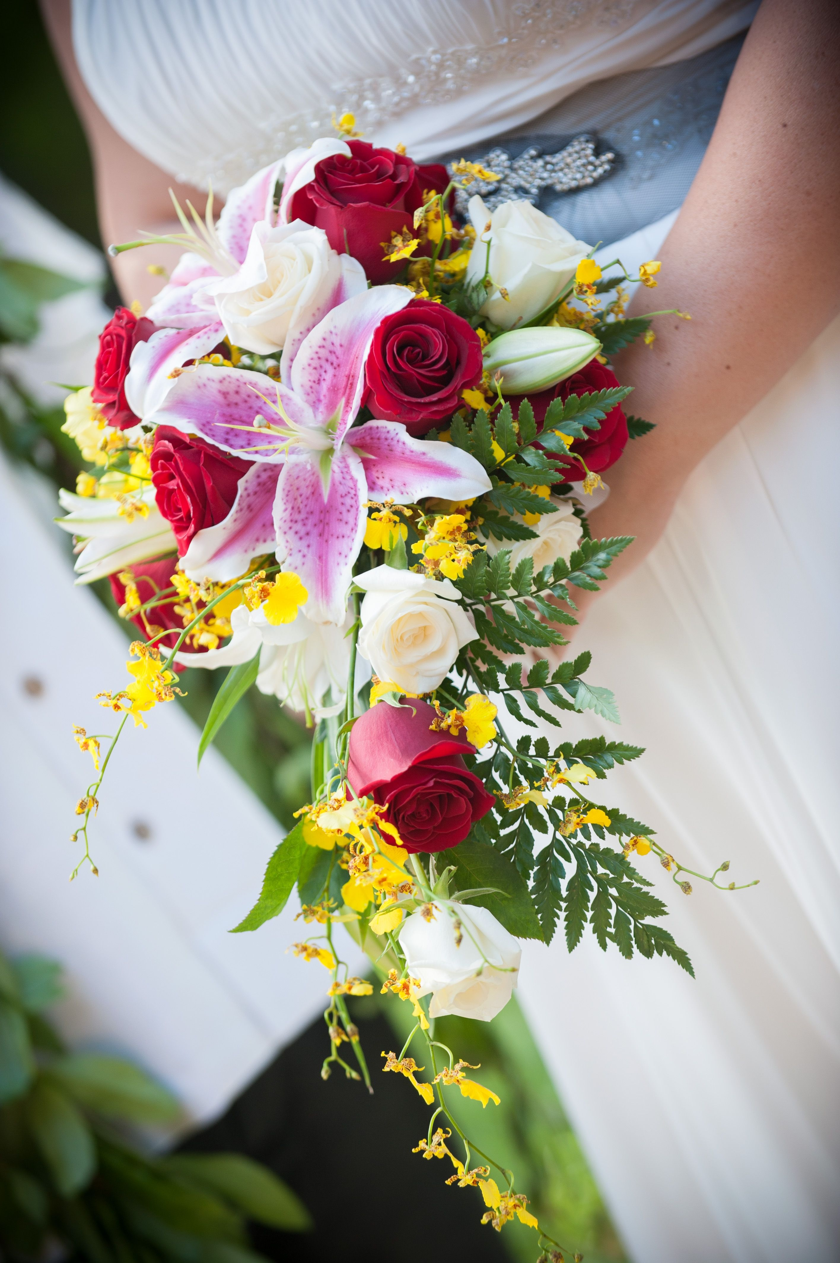 Tropical Red White Yellow Roses Orchids Lilies