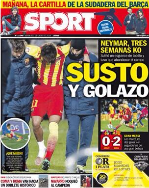 #Portada SPORT viernes 17 de enero 2014 #FCBarcelona #Barça #Barcelona #igersFCB  #Neymar