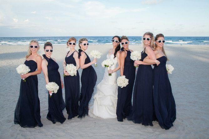 Beach Wedding Bridesmaids Formal Navy Blue Dresses Beach