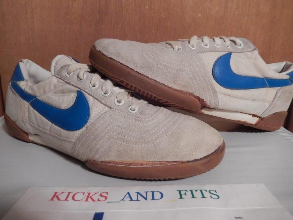 Vintage 1982 Nike Shoes Suede Toe White Blue Volley Court Force Budapest  Flint #Nike #