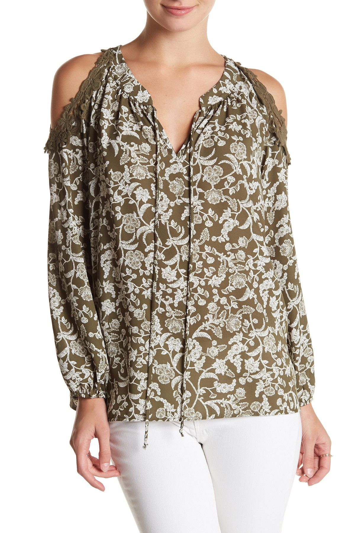a2100146ced52a Crochet Cold Shoulder Print Blouse by Pleione on  nordstrom rack ...
