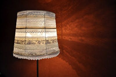 Lace and Ribbon Covered Lampshade...pretty...;)
