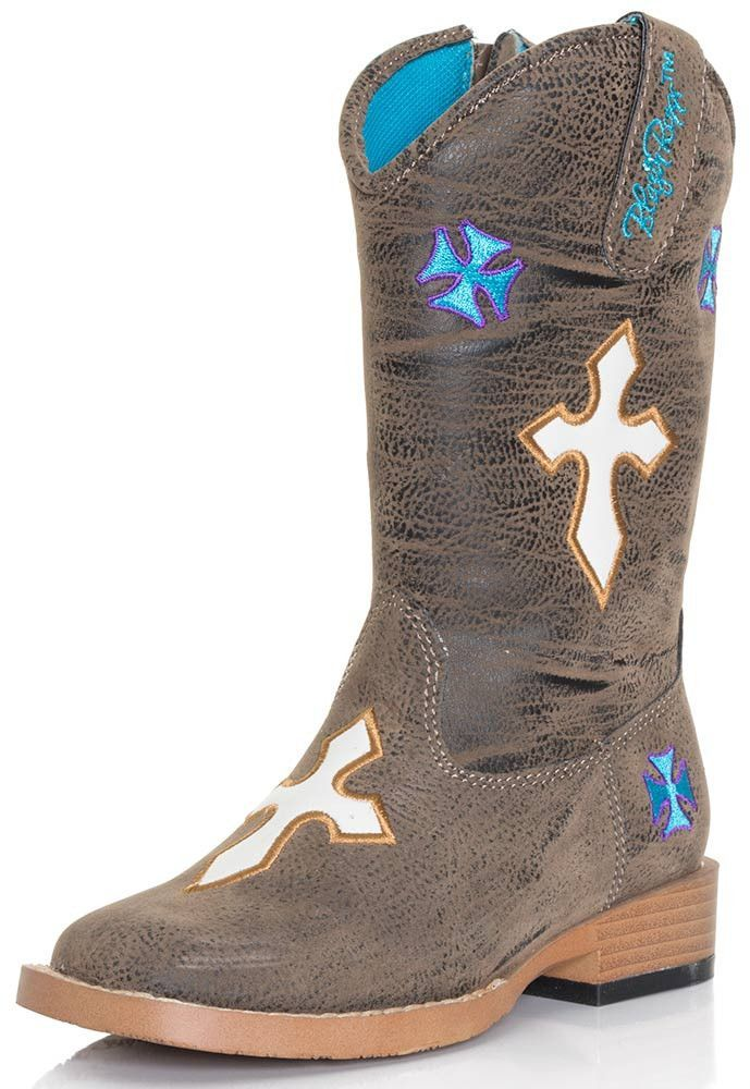 e8fa4b4a8a6 Blazin' Roxx Sierra Brown With Crosses Kids Cowboy Boots [4440802 ...