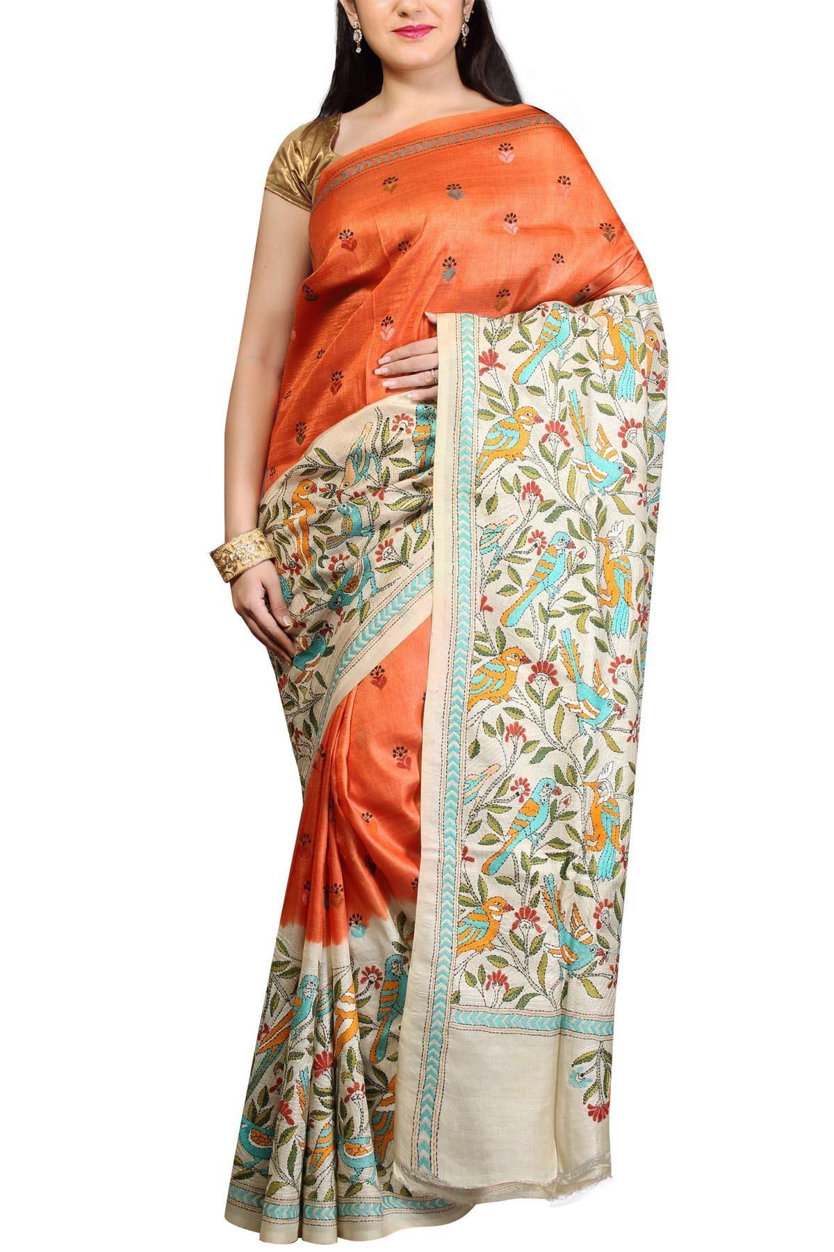 chandra bhaga stripe patterned baluchari silksaree baluchari beige rust nakshi kantha tussar silk saree