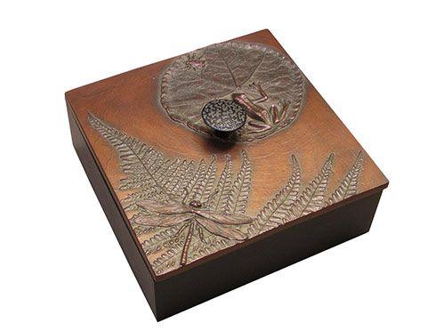 "Handmade Decorative Boxes Frog Pond Box 6"" X 6"" In Soft Copper  Decorative Boxes  Small"
