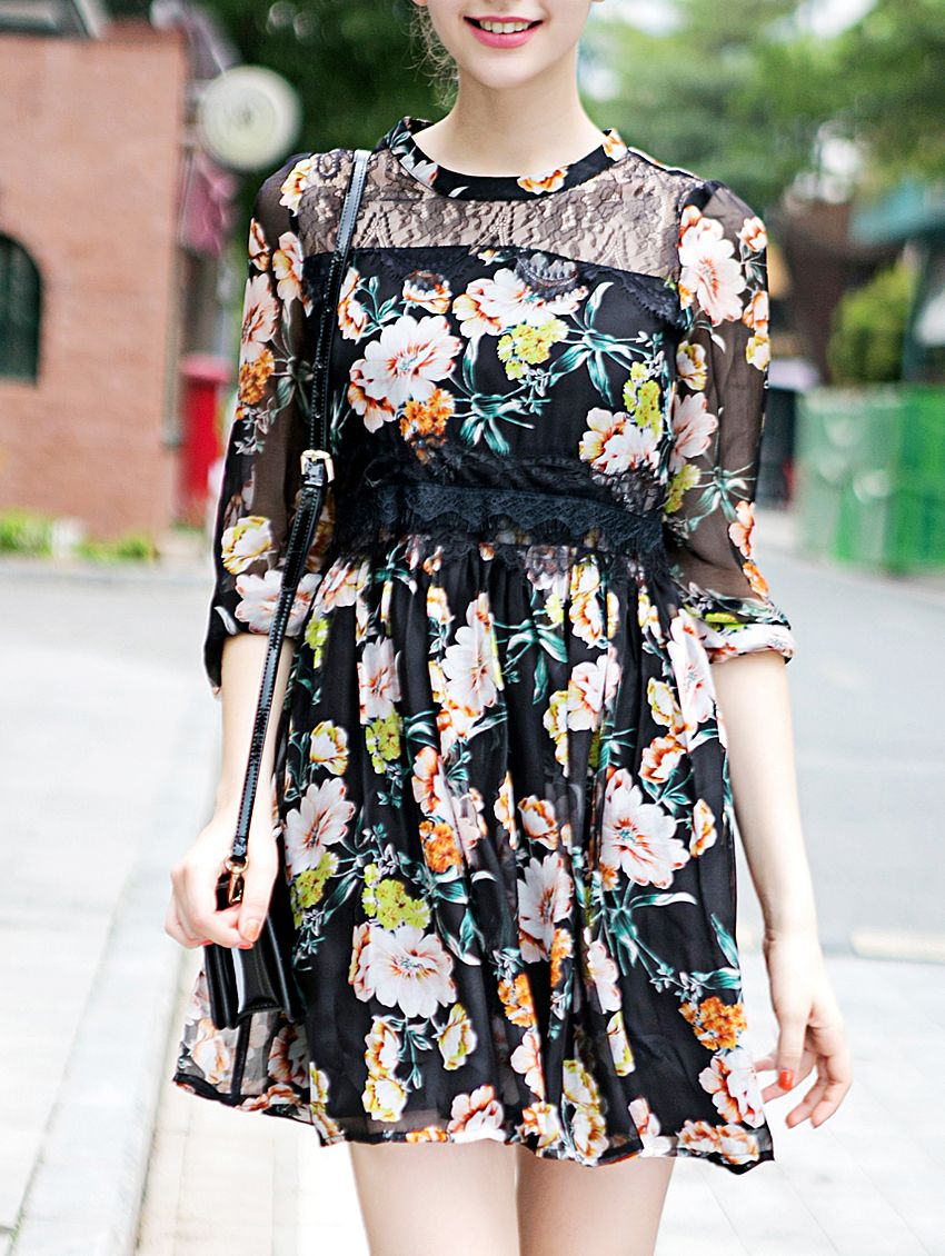 Buy it now black round neck half sleeve print dress multicolor