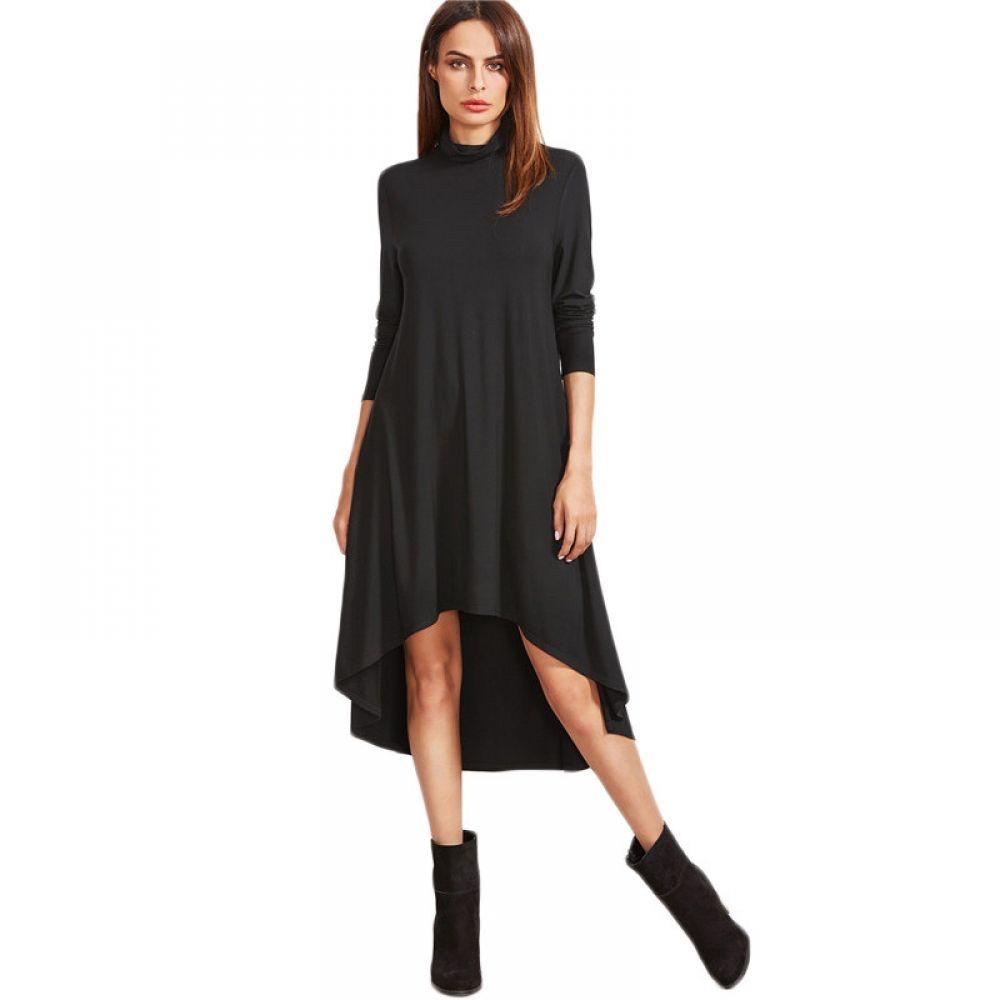 Womenus autumn full sleeve black dress price u free shipping