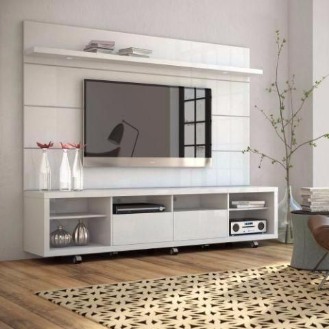 Superbe Cabrini 2.2 TV Stand And Panel White Gloss, Entertainment Centers    Manhattan Comfort, The Dining Room Table   1