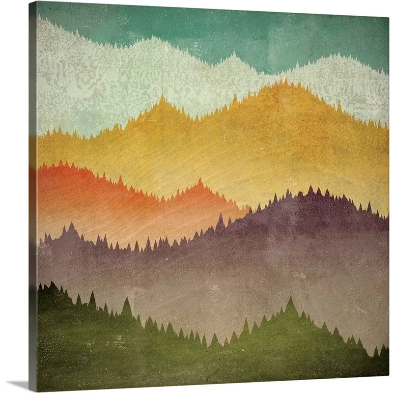 Mountain View By Ryan Fowler Graphic Art Print In 2020 Stretched Canvas Wall Art Framed Canvas Prints Abstract Canvas Painting