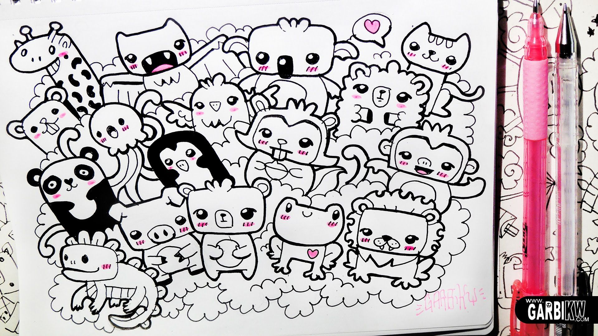 Kawaii Animals Party Hello Doodles Easy Drawings By