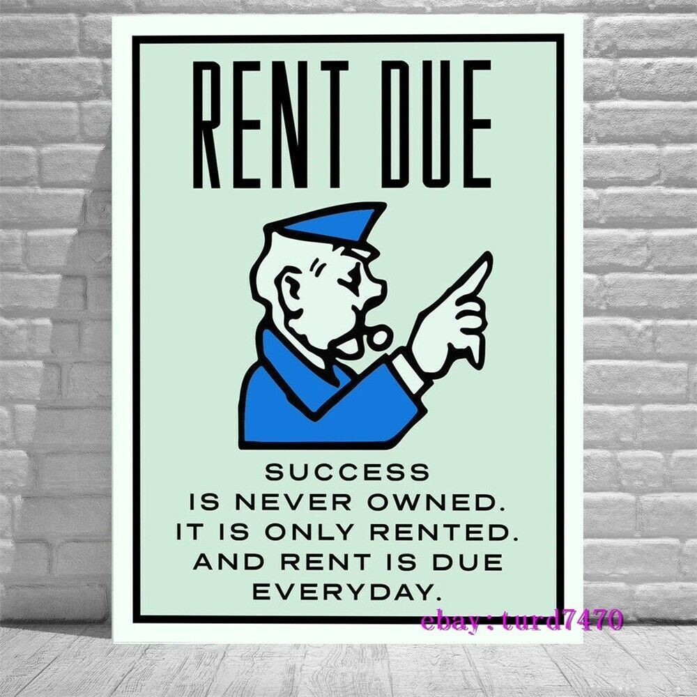 Alec Monopoly Rent Due Hd Print Art Home Decor Oil Painting On Canvas 18x24 Inch Affilink Wallart Canvas Quotes Business Inspiration Oil Painting On Canvas