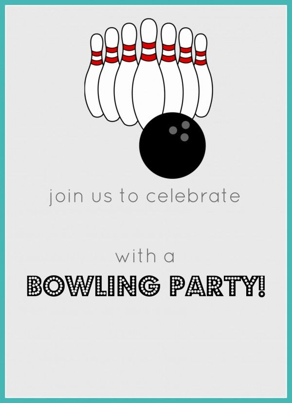 Free Printable Bowling Birthday Party Invitation